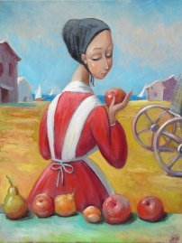 Minonite woman selling apples