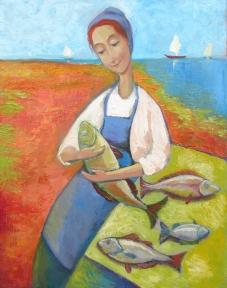 Minonite woman with fish