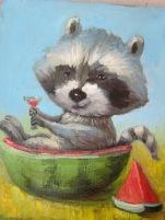 Raccoon and watermilon